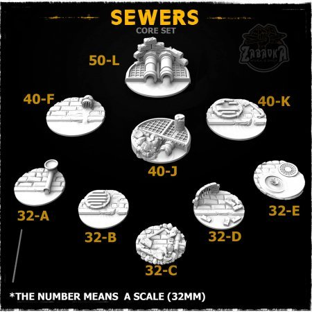Sewers Resin Base Toppers - Core Set (9 items)