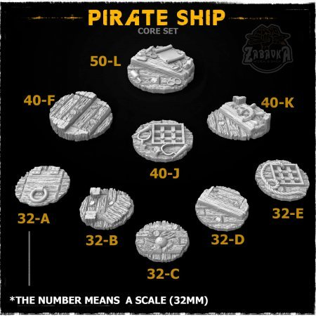 Pirate Ship Resin Base Toppers - Core Set (9 items)