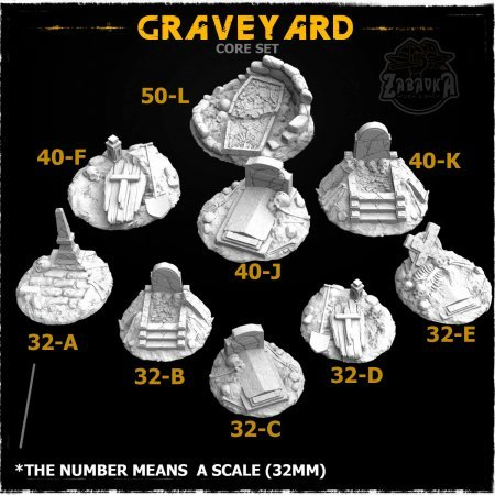 Graveyard-1 Resin Base Toppers - Core Set (9 items)