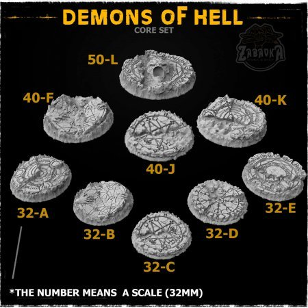 Demons of Hell Resin Base Toppers - Core Set (9 items)