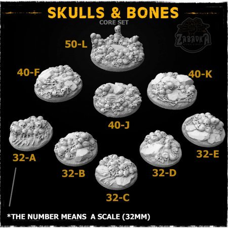 Skulls and Bones Resin Base Toppers - Core Set (9 items)
