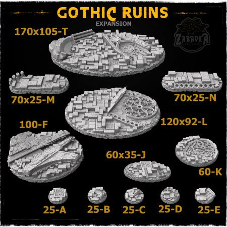 Gothic Ruins Resin Base Toppers - Extra Set (12 items)