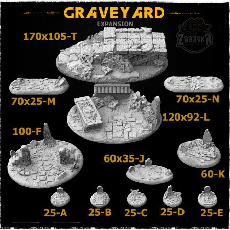 Graveyard Resin Base Toppers - Extra Set (12 items)