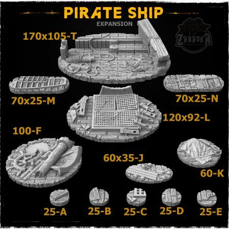 Pirate Ship Resin Base Toppers - Extra Set (12 items)