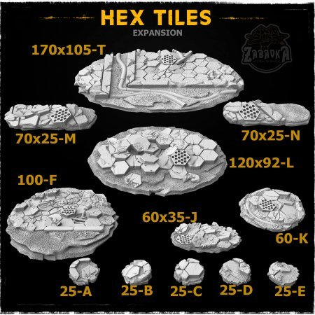 Hex Tiles Resin Base Toppers - Extra Set (12 items)