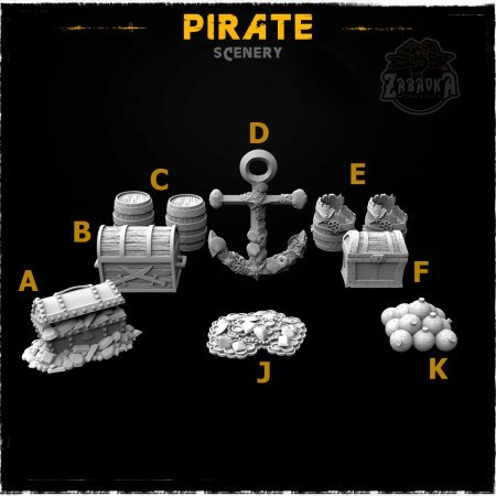 Pirate - Resin Scenery Elements (10 items)