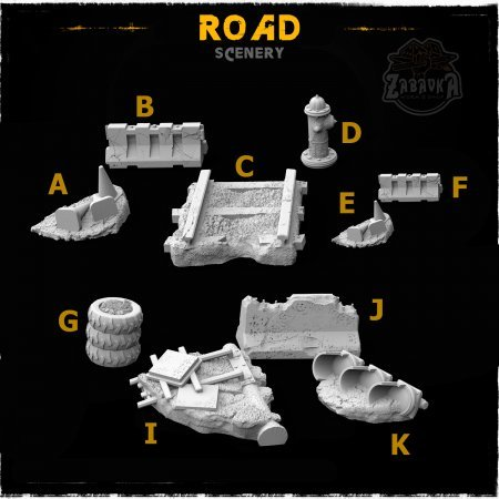Road - Resin Scenery Elements (10 items)
