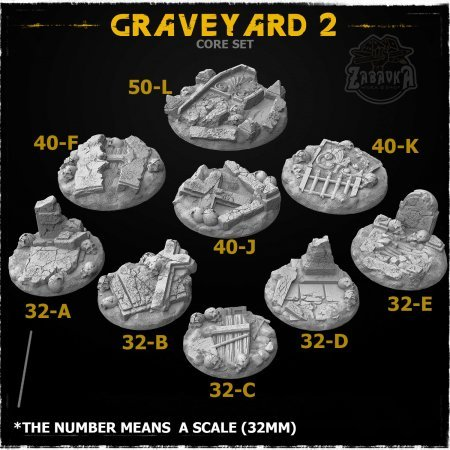 Graveyard-2 Resin Base Toppers - Core Set (9 items)