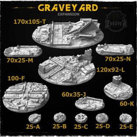 Graveyard-2 Resin Base Toppers - Extra Set (12 items)
