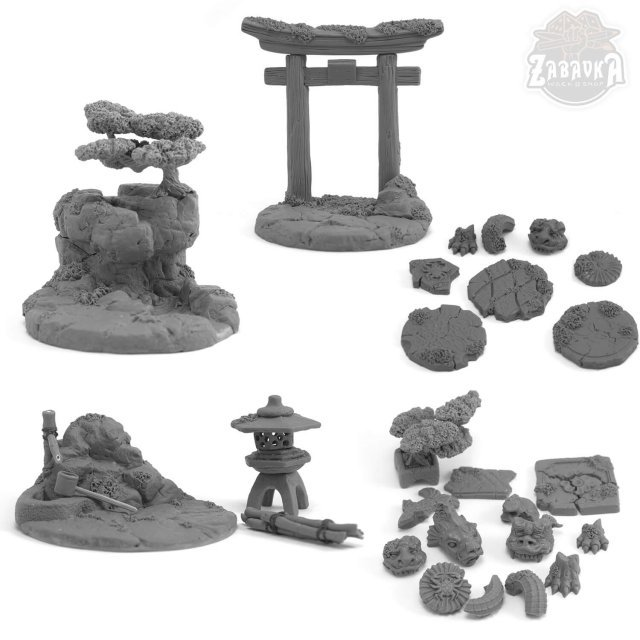 Set of Bases and Terrain elements from  the Japanese Warrior Cats